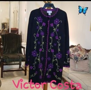 Victor Costa Embroided Sweater